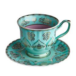 Teetasse GRANDPA mint, flieder, extravagantes Porzellan von Pols Potten mit goldenen verzierungen