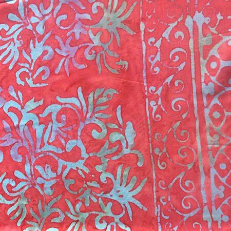 Sarong GITGIT pudriges rot mit floralen Ornamenten in türkis