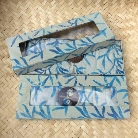 Sarong SERAYA Palmblätter beige-hellblau