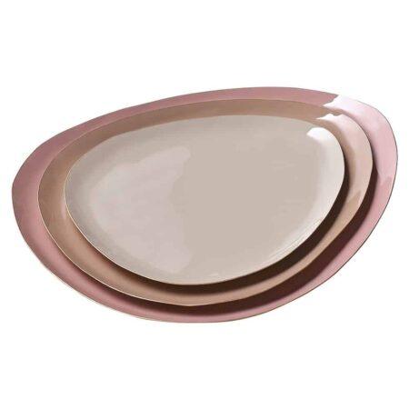 Tablett Set ELEKTRA, wunderschön aus Eisen in Nude-Tönen von GiftCompany