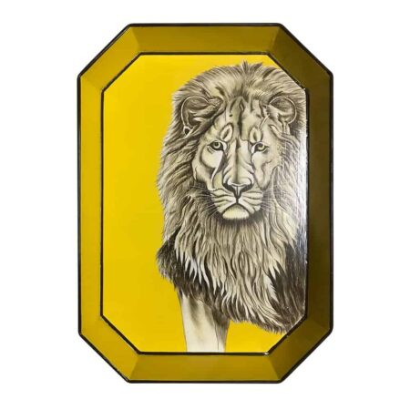 Handbemaltes Tablett 'LÖWE' aus Eisen , gelbes dekoratives Tablett, Göße 43x30cm von der Design-Marke Les Ottomans