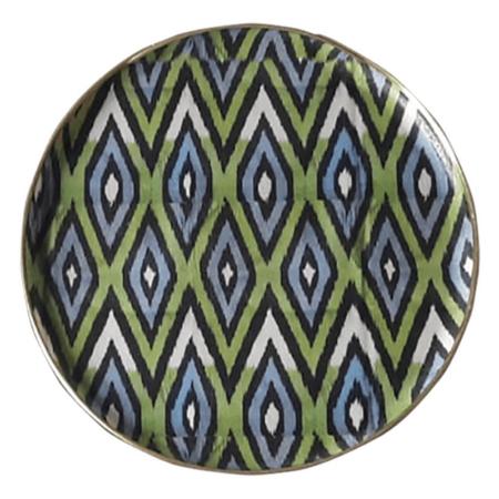 Tablett IKAT grün-grau, ausgefallenes rundes Serviertablett aus Fiberglas