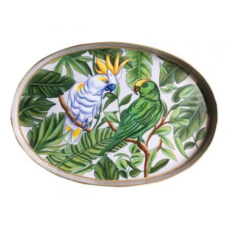 Tablett FAUNA grün, extravagantes ovales Eisen-Tablett mit Fauna und Vögeln als Motiv