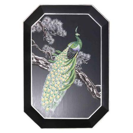 Handbemaltes Tablett 'PFAU' aus Eisen, schwarz/grünes dekoratives Tablett, Göße 43x30cm von der Design-Marke Les Ottomans