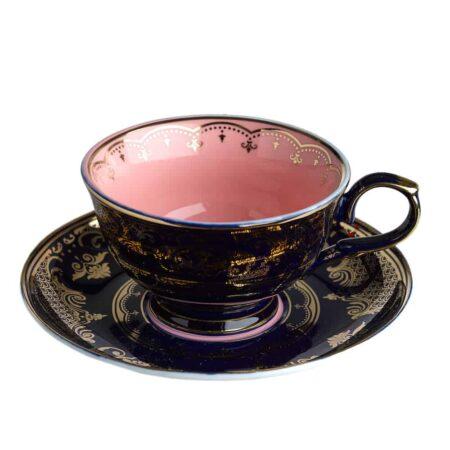 Teetasse schwarz/rosa, extravagantes Porzellan von Pols Potten mit goldenen verzierungen