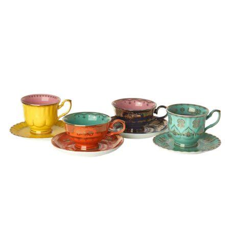 Teetassen 4er-Set Mehrfarbig, extravagantes Porzellan-Set von Pols Potten