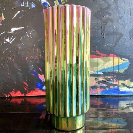 Vase 'OILY FOLDS' XL-Faltenvase , außergewöhnliche schillernde Glasur - Ø19,5 x H50 cm von Pols Potton