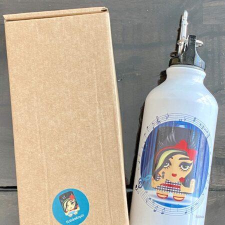Trinkflasche AMY WINEHOUSE von KALIDOSKOPIO, coole Trinkflasche aus Aluminium