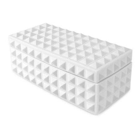 Box CHARADE STUDDED in matt weiß, luxuriöse Schmuckbox von Jonathan Adler
