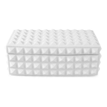 Box CHARADE STUDDED in matt weiß, Deko-Box von Jonathan Adler