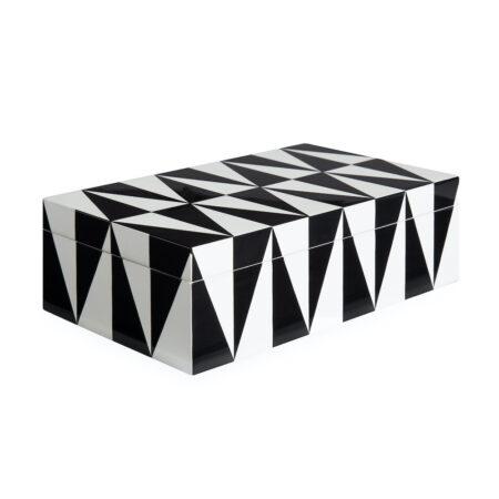 Deko Box OP ART MEDIUM in schwarz + weiß, geometrische Muster in den zeitlosen Kontrastfarben schwarz und weiß
