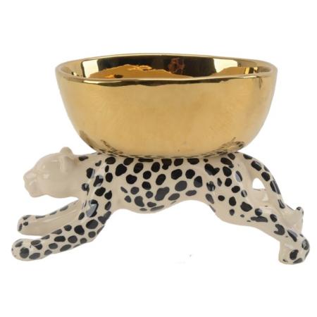 Schale 'golden LEOPARD' aus Porzellan, edle Dekoschale von Van Roon Living