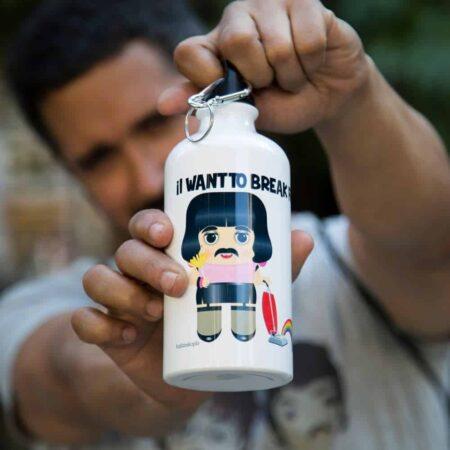 Trinkflasche FREDDIE MERCURY von KALIDOSKOPIO, coole LGBT-Trinkflasche aus Aluminium