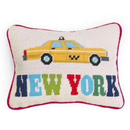 Jonathan Adler, Kissen JET SET NEW YORK mit Baumwollsamt, in Handarbeit gefertigt...