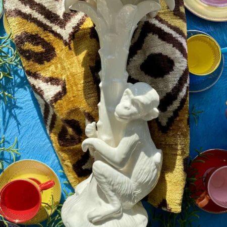 Kerzenständer 'MENAGERIE Monkey' aus Keramik, niedlicher Affe auf einer Palme - von Les Ottomans