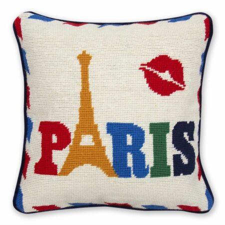 Kissen JET SET PARIS mit Baumwollsamt, in Handarbeit gefertigt...