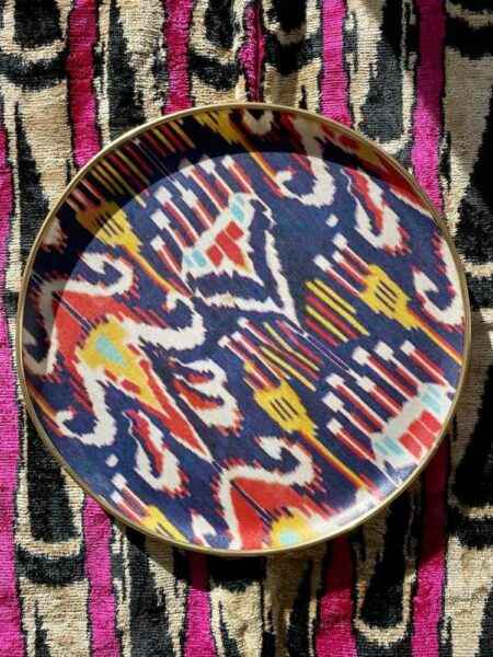 rundes Tablett IKAT, aus Fiberglas vom Designer Les Ottomans