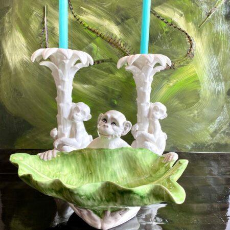Dekoschale MONKEY LEAF, Keramik mit süßem Affen und einem Blatt als Schale von Les Ottomans