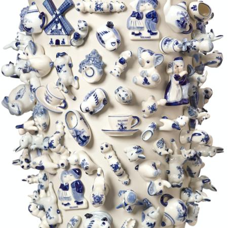 Vase 'Souvenir Holland' XL / Ø35x40 cm, Viele verschiedene typische Motive aus Porzellan zieren dieses kunstvolle Deko-Objekt