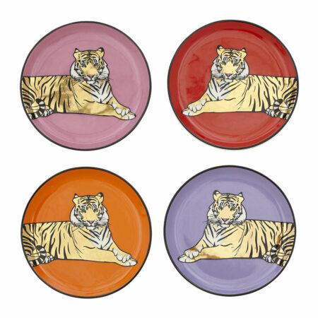 Untersetzer SAFARI mit Tiger-Motiv , besondere Untersetzer aus Porzellan von Jonathan Adler