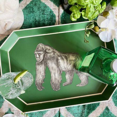 Handbemaltes Tablett 'GORILLA' aus Eisen, grünes dekoratives Serviertablett, Göße 43x30cm von der Design-Marke Les Ottomans