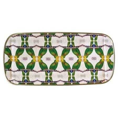 Tablett SULTANS JOURNEY, rechteckiges Serviertablett aus Fiberglas mit Papageien darauf