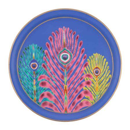 Tablett PFAUENFEDERB blau, extravagantes Eisen-Tablett vom britischen Designer Matthew Wiiliamson