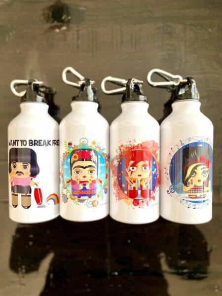 Trinkflaschen aus Aluminium, Geschenkidee mit dem liebsten Star. Freddie Mercury, Amy Winehouse, David Bowie, Frida Karlo