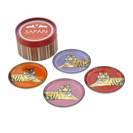 Untersetzer SAFARI mit Tiger-Motiv , in sehr schöner Geschenkbox - von Jonathan Adler