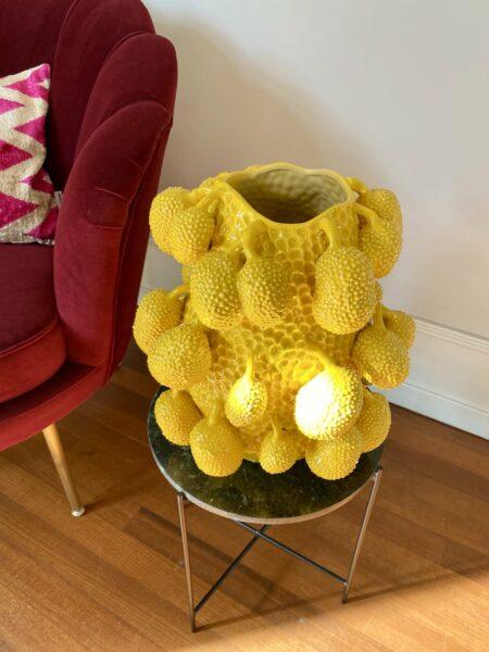 Porzellan Vase JACKFRUCHT, extravagante Vase in Form einer Jackfruit