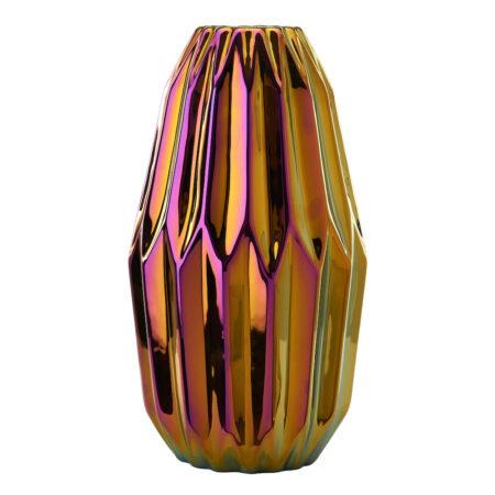 Vase 'OILY FOLDS' M, Faltenvase mit schillernder Glasur von der Marke Pols Potten