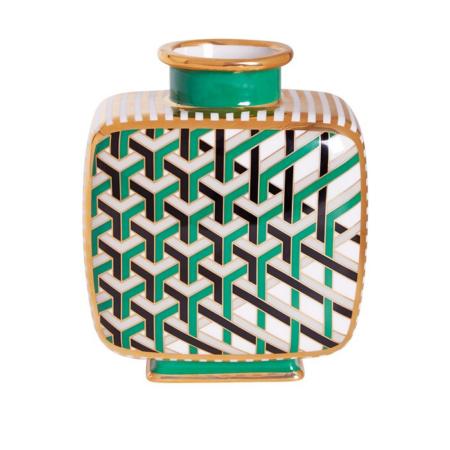 Vase VERSAILLES MAZE / grün dynamisches Muster, Aus hochwertigem Porzellan gefertigt und mit grünen und goldenen Details verziert