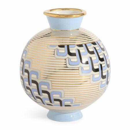 Vase VERSAILLES PUZZLE / dynamisches Muster, blau goldenes Muster von Jonathan Adler