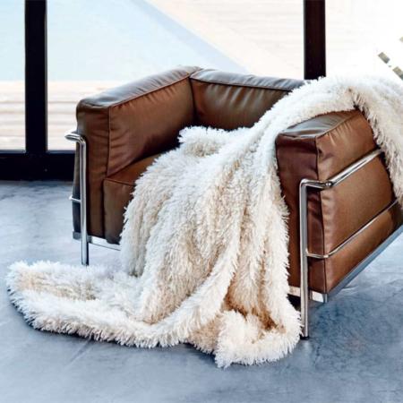 Decke Plaid TIBETLAMM ivory von Carma, Mit Kaschmir und Schurwolle. Hochwertiger Webpelz - gönnen Sie sich etwas Luxus!