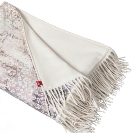 Decke 'Happy Plaid' fresco, Luxus Decke von Carma aus Samt, Futter aus Wolle & Cashmere