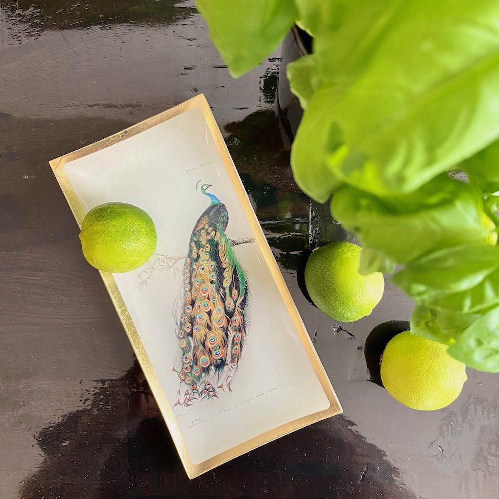 Dekoschale PFAU, sehr edles Vide-Poche mit Tiermotiv von GiftCompany
