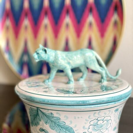 Keramikdose mit Deckel 'MENAGERIE PANTHER', exklusive Keramik von Les Ottomans