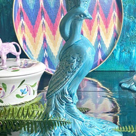 Kerzenständer 'MENAGERIE PFAU' türkis exklusive Keramik von Les Ottomans