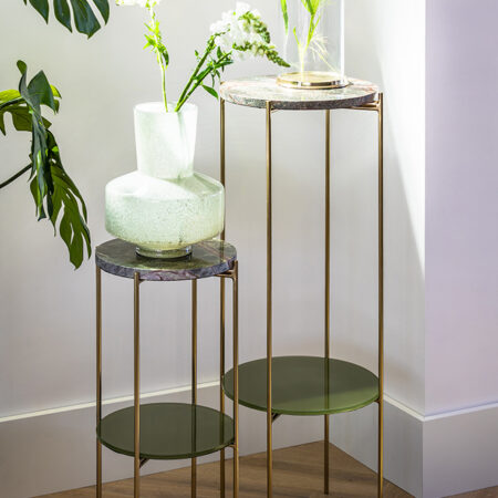 Säule BESUT Marmor grün + Glas gold