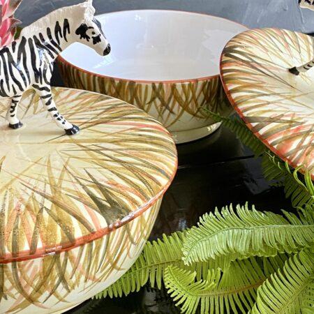 Keramikdose mit Deckel 'MENAGERIE ZEBRA', exklusive Keramik zur Aufbewahrung von Les Ottomans