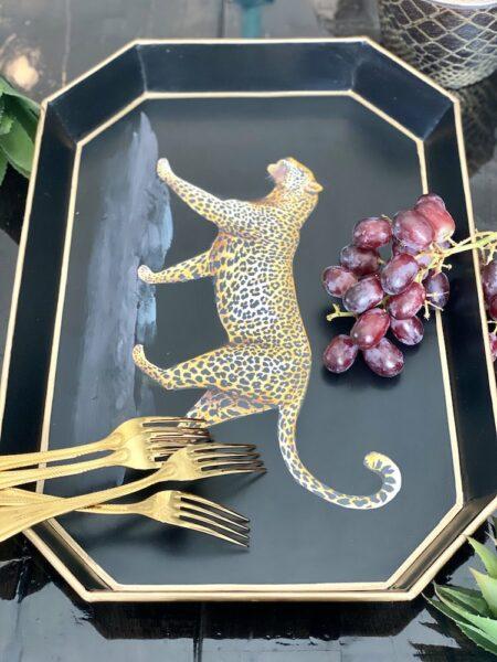 Handbemaltes Tablett 'LEOPARD' aus Eisen, dekoratives Serviertablett, Göße 43x30cm von der Design-Marke Les Ottomans