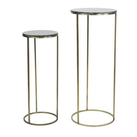 Säulen RICARDO grün Marmor + antik Bronze 2er Set