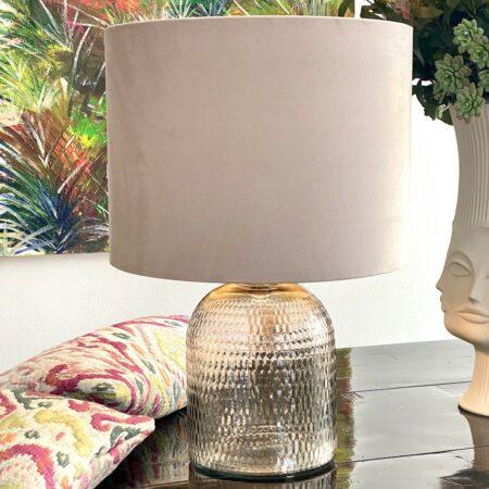 Tischlampe DAWID Glas/Samt, edle Leuchte in hell rosa von Light & Living