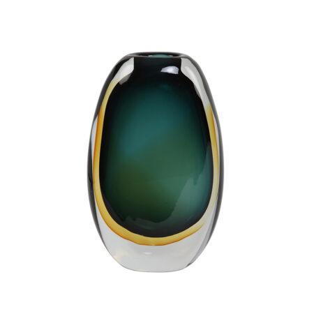 Vase CALLA Glas Turquoise - Bernstein 14x6x24 cm