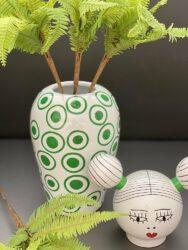 Vase mit Deckel CANOPIE IZUMI weiß/grün Ø17x25,5 cm, extravagante Deckelvase mit Charme!
