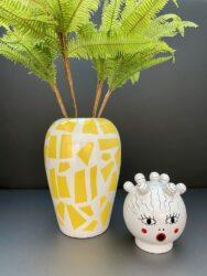 Vase mit Deckel CANOPIE ROSIO weiß/gelb Ø17x25,5 cm, besondere Vasen mit Deckel von Seletti