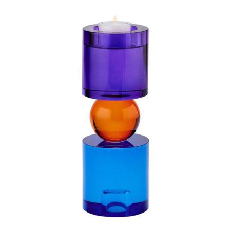 Kerzen- / Teelichthalter SARI in blau, orange, lila