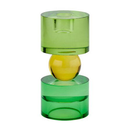 Kerzen- / Teelichthalter SARI in grün, gelb